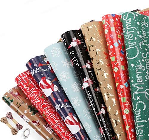 8 feuilles Papier Cadeau Rétro Emballage de Papier 44,5x70cm+1 Rouleau Ruban Adhésif Double Face+10m Corde de Chanvre+20m Corde de Coton de Noël,Rouleau Feuilles Papier pour Cadeaux d'emballage