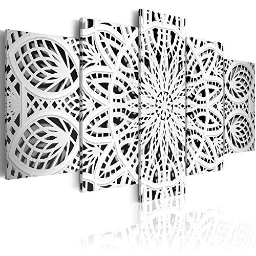 murando Cuadro en Lienzo Mandala Zen SPA 200x100 cm Impresión de 5 Piezas Material Tejido no Tejido Impresión Artística Imagen Gráfica Decoracion de Pared Blanco Oriente f-A-0581-b-n