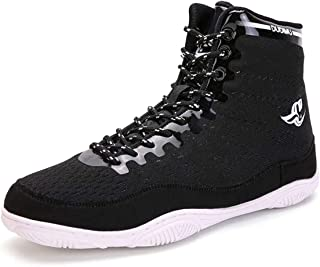 Men's Wrestling Shoes, Kickboxing Footwears High-Top Boxing Training Shoes Durable Lightweight Weightlifting Boots