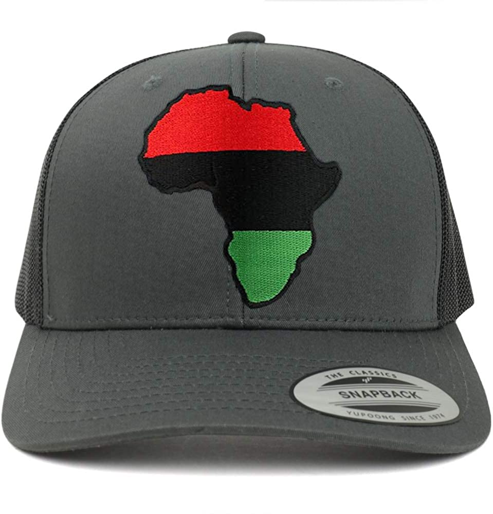 Armycrew Flexfit Oversize XXL Red Black Green Africa Map Patch Retro Trucker Mesh Cap