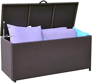 ART TO REAL Aluminum Frame Heavy Duty Outdoor Wicker Deck Storage Box Garden Container Bench Chest for Cushions and Toys