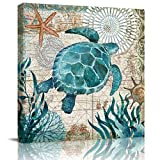 Canvas Wall Art Painting for Home Office Bathroom Decoration,Sea Turtle Underwater World Animal Picture Giclee Print on Canvas Artworks,Framed,Ready to Hang,16x16in