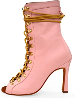 Dames Latin Dance Shoes Lace-up Peep Toe Moderne Salsa Tango Ballroom Oefenprestatie Pumps Schoenen