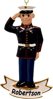 Kurt Adler Personalized Officially Licensed USMC U.S. Marine Corps Service Member in Dress Uniform Hanging Christmas Ornament with Custom Name (Marines)