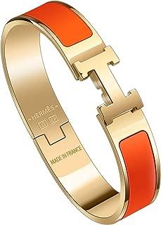 Best H Buckle Bangle Bracelets for Womens Stainless Steel Enamel Bracelet 12MM