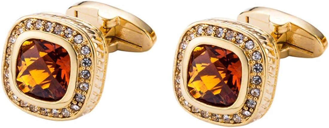 Gold Dark Topaz Crystal Cufflinks Luxury Crystal Gem stone Cuff links