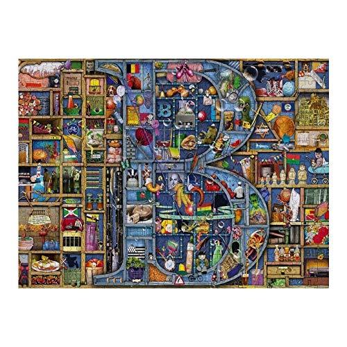 RABEAN Colin-Thompson-Awesome-Alphabet 1000 piezas de rompecabezas de madera para ensamblar imágenes de descompresión rompecabezas para adultos y niños juegos educativos juguetes