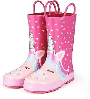 KomForme Kids Rain Boots, Girl Unicorn Animal Printed Rubber Boots with Easy on Handles