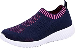 Women's Casual Athletic Sneakers - Lightweight Breathable Slip On Walking Shoes