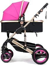 3 en 1 cochecitos Cochecito para niños Cochecito para bebé Bebé seguro y cuidado Sistema con ruedas plegables y ajustables con ruedas de 4 ruedas (Color : Rose)