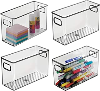 """mDesign Plastic Home, Office Storage Organizer Bin with Handles - Container for Cabinets, Drawers, Desks, Workspace - BPA Free - for Pens, Pencils, Highlighters - 4"""" Wide, 4 Pack - Smoke Gray photo"""