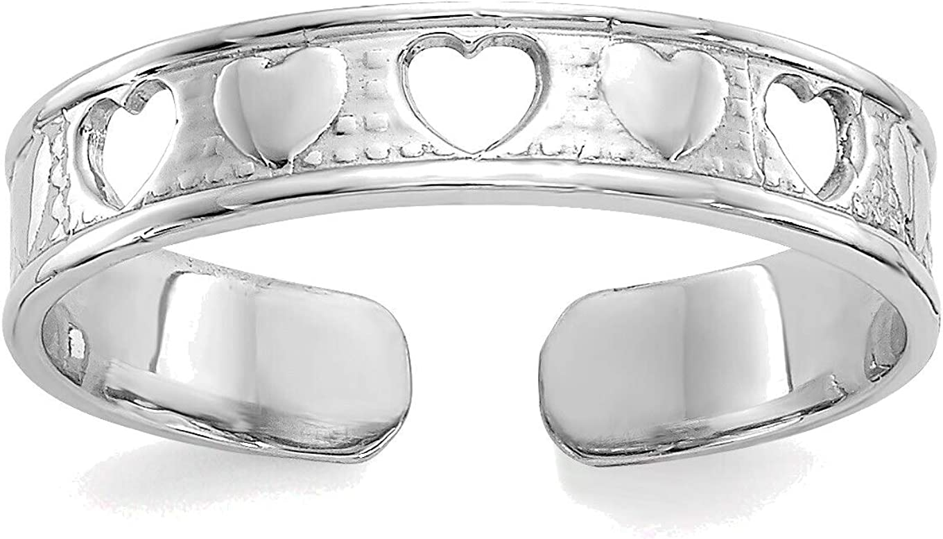 Bonyak Jewelry 14kt White Gold Polished with Hearts Toe Ring in Size 11