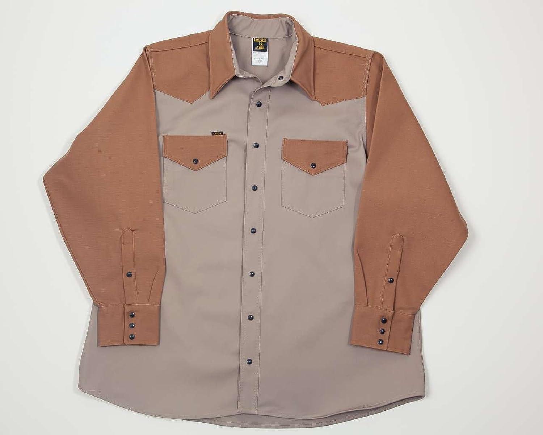 Lapco FR KB-20-S Heavy-Duty 2-Tone Welder's Shirts, 10 oz, 100% Cotton Duck, 12 oz, 20 Small, Khaki Brown