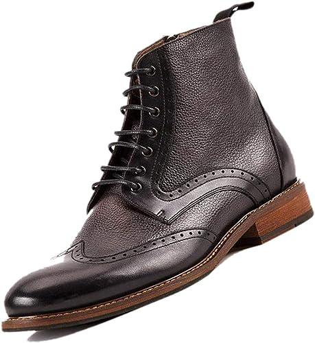 botas De Cuero para Hombre De Chelsea Inglaterra Ayuda Alta botas Martin Talladas Derby marrón marrón Oscuro negro Transpirable Hecho A Mano