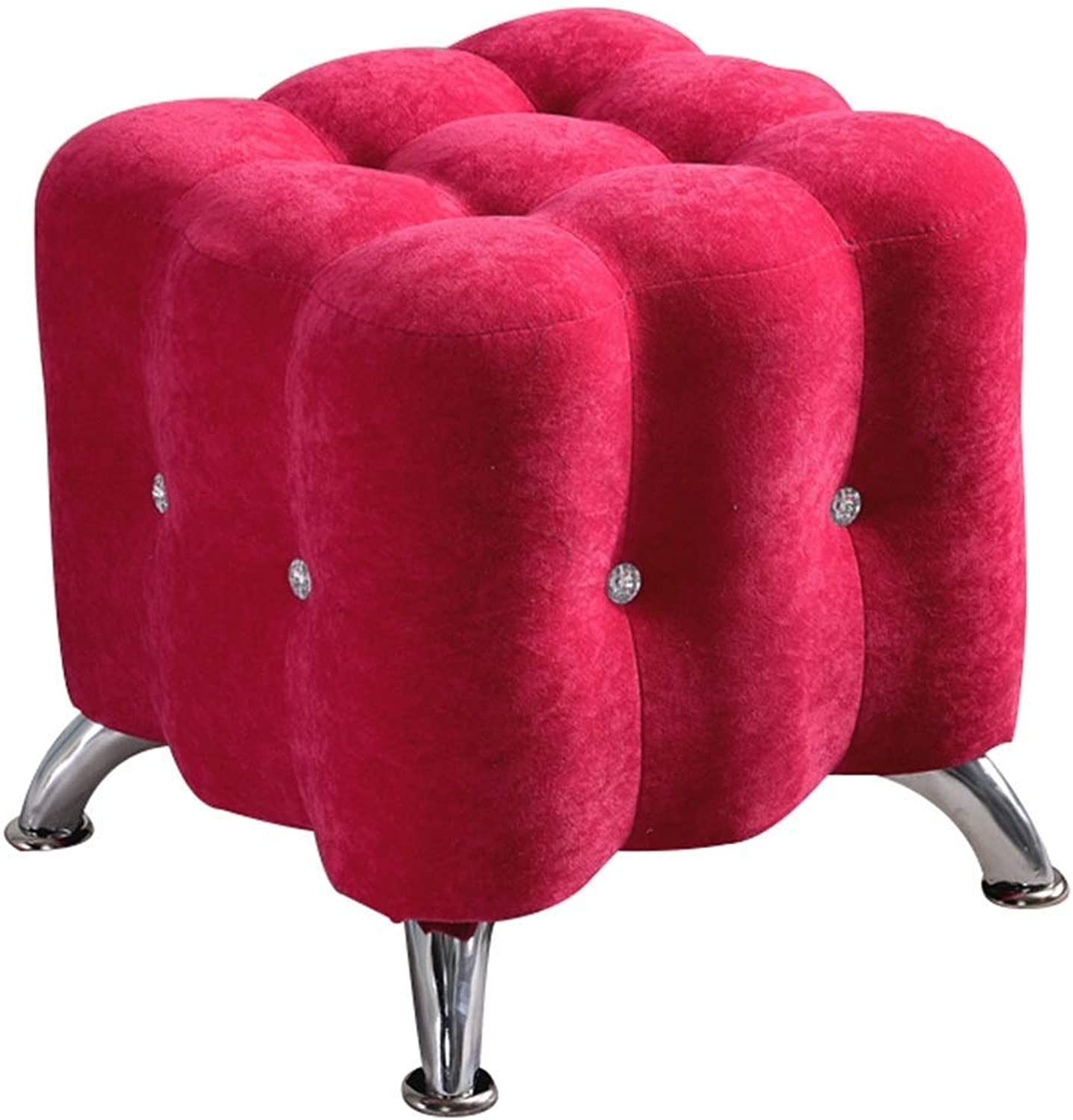 Footstool Cloth European Style Sofa Stool Storage Change shoes Bench Living Room, 5 colors GFMING (color   Red, Size   40x40x40cm)