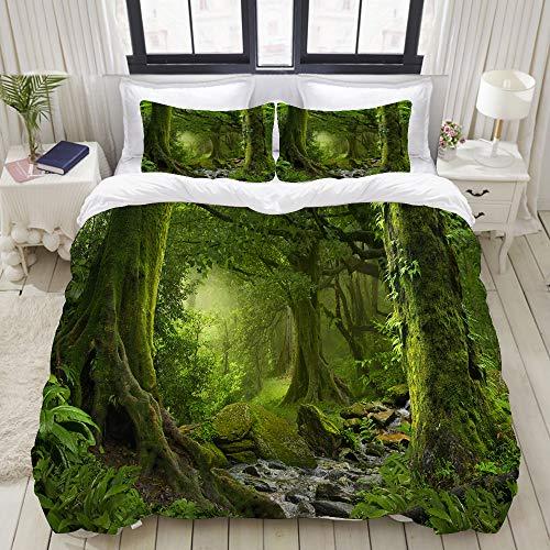 ALLMILL Bedding Juego de Funda de Edredón,Selva Verde de Nepal de Bosque con río, Hermoso Bosque, Paisaje Antiguo,Microfibra Funda de Nórdico y Fundas de Almohada - 220 x 240cm
