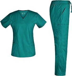 Women Nurse Stretch Scrubs Set - Pandamed Uniforms Mock Wrap Nursing Scrubs Top Drawstring Cargo Pants TCS3103