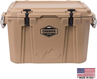 CORDOVA 50 Medium Cooler - Hard Sided Rotomolded Ice Chest with 48 Quart Capacity & Built In Bottle Opener - Made in the USA