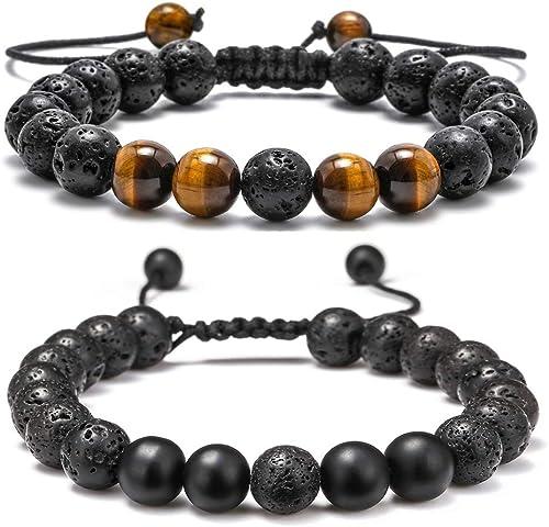 Lava Rock Bracelet - 8mm Stone Tiger Eye Bracelet Lava Rock Bracelet , Stress Relief Yoga Beads Adjustable Bracelet A...