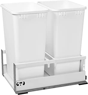 Rev-A-Shelf - TWCSD-1850DM-2 - Double 50 Qt. White Pull-Out Waste Container with Servo-Drive