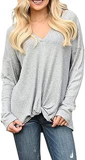 Ivay Womens V Neck Twist Tunics Waffle Long Sleeve Knit Plain Fashion Casual Shirts Tops