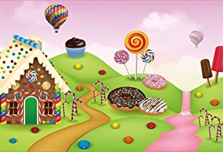 AOFOTO 7x5ft Fantastic Candyland Party Backdrop Doughnut Cartoon Sweets Dessert Lollipop Candies Candy House Photography Background Baby Shower Birthday Decoration Cookie Kid Girl Photos Prop Vinyl