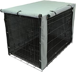 TOPEIUS Dog Crate Cage Cover for 48inch Double Door Wire , Durable Waterproof Pet Kennel Covers with Mesh Window (Dark grey)
