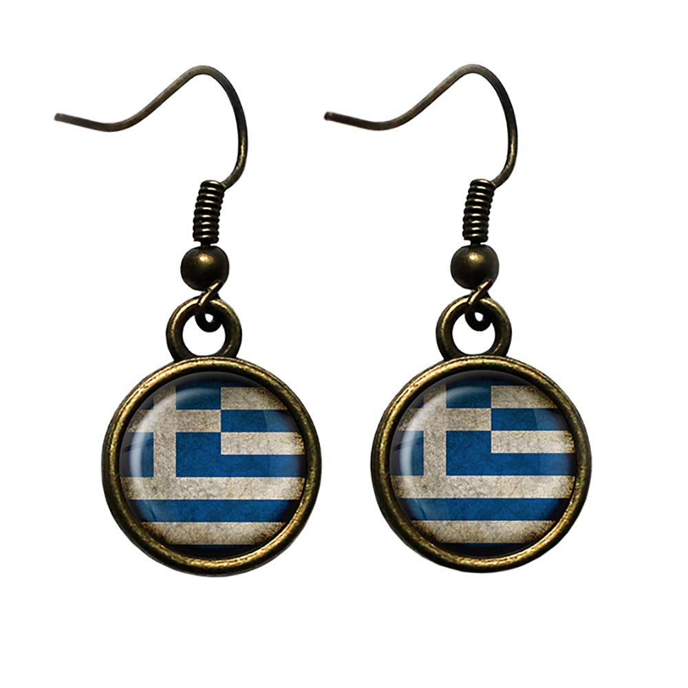 Greece Greek Ελλάδα Flag Nashville-Davidson Choice Mall Bronze Antique Earrings