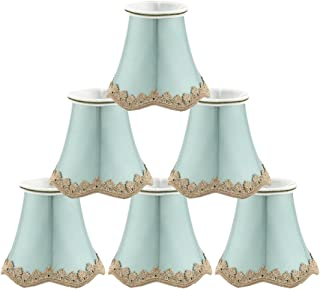 uxcell Chandelier Wall Ceiling Clip on Lamp Shades Light Cover 3x5.3x4.7 Inch, Set of 6 Seagreen