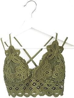 Women's Lace Crochet Scalloped Edges Bralette with Adjustable Straps