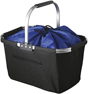 Marbrasse Collapsible Market Basket, Reusable Grocery Shopping Bag, Picnic Tote with Strong Aluminum Frame and Handles, Reinforced Bottom, Durable Polyester Fabric and Drawstring Closure