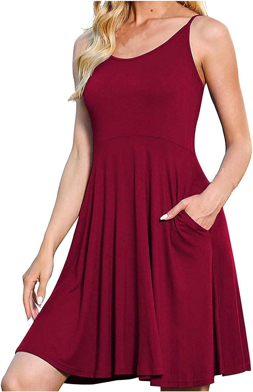 Fanteecy Women's Summer Casual Sleeveless Loose Plain T-Shirt Dresses Short Dress with Pockets