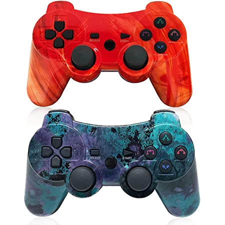 Boowen PS3 Wireless Controllers,Six-axis Gaming Joysticks for Playstation 3 Gamepad, up to 10m Remote Control, Wired Joypad for Windows PC Games with Charging Cable