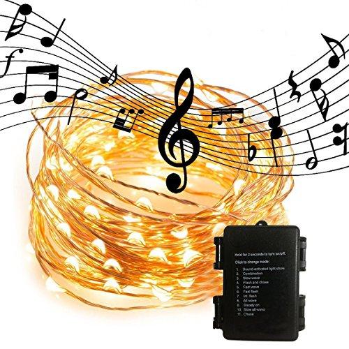 Impermeabile LED luci di rame, luci stringa de musique activée DINOWIN 100LED 11 Modalità Corda di Rame Luminose, Batteria Luci Stringa per Natale,giardino, matrimonio,illuminazione Decorativa
