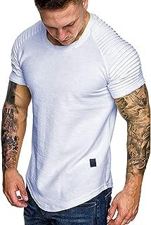 Men's Summer Pleats Gradient Pattern Casual Fashion Lapel Short Sleeve Loose Shirt