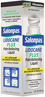 Salonpas lidocaine Plus 3 oz roll on Pain Relieving Liquid 4% lidocaine