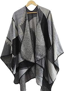 LOSRLY Poncho da donna aperto sul davanti con design reversibile a blocchi di colore