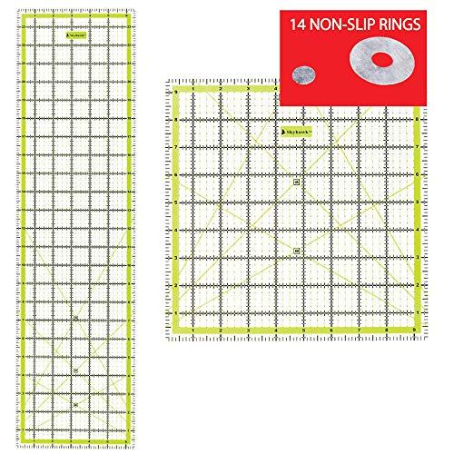 SKYHAWK acrílico para Patchwork Combo Pack de 2Quilters reglas–rectangular 24'x 6,5' y cuadrado 9,5'x 9.5' double-colored líneas de cuadrícula