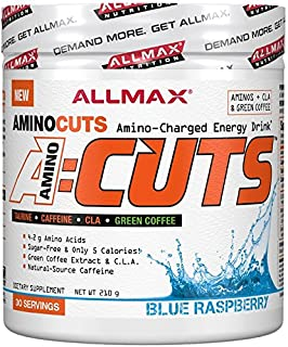 Allmax A-Cuts Amino Cuts Amino Charged Energy Preworkout Fat Burning CLA Taurine Green Coffee Choose from 8 Flavors (Blue ...