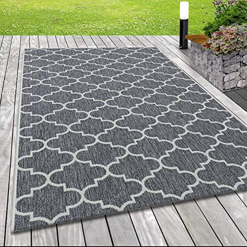 Indoor Outdoor-Teppich Sisal Optik Marokkanisches Design Terassen Teppich Grau, Grösse:160x230 cm, Farbe:Grau