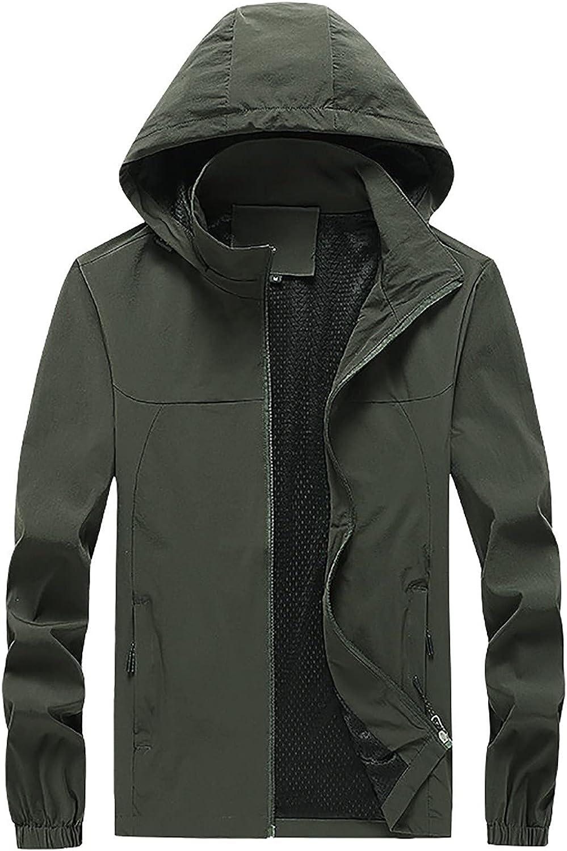 Men's Active Jacket Men's Softshell Hiking Jacket, Waterproof Lightweight Hooded Coat, Outdoor Raincoat Jacket