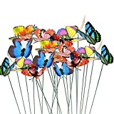 VIMOA Decorative Garden Butterfly Stakes 30pcs Butterfly Stakes Waterproof Butterfly Decor Garden for Flower Beds Plant Pots