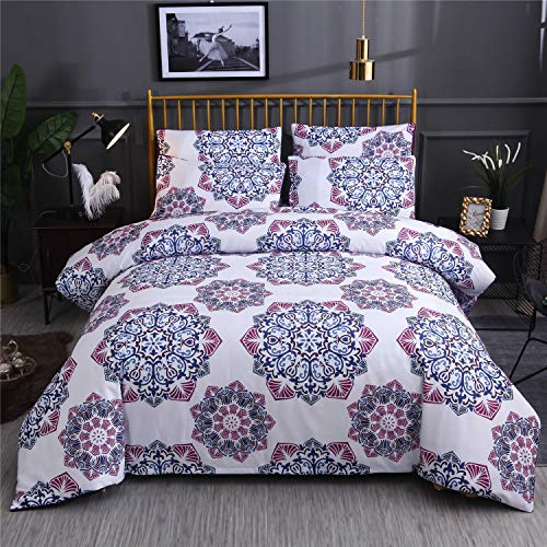 3 Pcs Queen Duvet Covers for Women Men,Bohemian Retro Bedding Set,Mandala Down Comforter Cover, Boho Floral Style Best Bedding Quilt Cover, 100% Ultra Microfiber, 1 Duvet Cover and 2 Pillow Shams