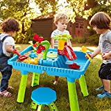 TEMI Sand Water Table Outdoor Toys - Toddler Activity Table Sandbox Toy Sensory Table Summer Toys Beach Play Table 27 Pcs Accessories for Baby Kids Children