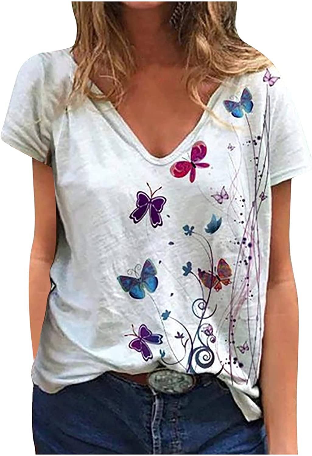 Fashion T-Shirt for Womens Summer V-Neck Short Sleeve Butterfly Printed Loose Tee Shirt Blouse Tops
