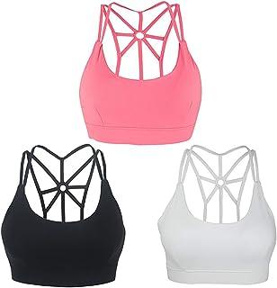b7784fd429 Snailify Women s Sports Bra High Impact Crisscross Racerback Wireless  Halter - Strappy Padded Workout Yoga Gym