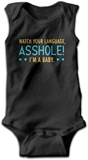 NMDJC CCQ Watch Your Language Asshole I'm Baby Soft Sleeveless Baby Bodysuit Funny Newborn Jumpsuit Rompers Shower Gift