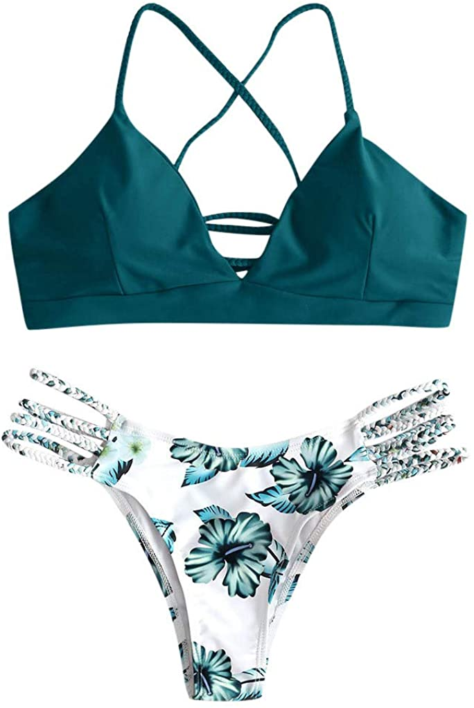 Portazai Women's Swimsuit Two Piece Back Lace-up Bra Flower Print Halter Thong Swimwear Beachwear Bikini Set
