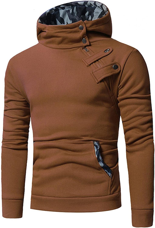 LEIYAN Mens Casual Hoodie Sweatshirt Hipster Long Sleeve Slim Fit Autumn Winter Turtleneck Athletic Sports Pullovers Tops