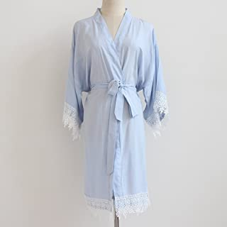 Toga de Kimono de mujer azul claro (con adornos de encaje) -Ropa de kimono de dama de honor-Regalo de boda de dama de hono...